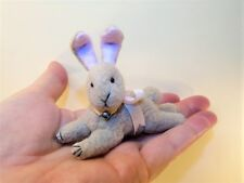 "Miniature Artist made jointed head lying Tan Bunny Rabbit 3"" OOAK by Beth Hogan"