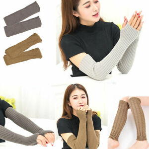 New Long Arm Set Female Warm Half Finger Gloves Wool Knit Sleeve Winter Outdoor