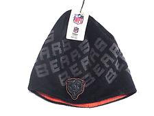 Chicago Bears Beanie Cap Black w/Gray Lettering Orange Inside Youth Size New