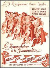 PUBBLICITA' 1939 CIOCCOLATO NESTLE'  TRE MOSCHETTIERI CAILLER GALA PETER KOHLER