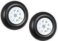 2-Pk Trailer Tire Rim ST205/75D14 14 in. Load C 5 Lug White Spoke Wheel