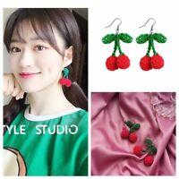Hook Knitting Non-pierced  Cherry Dangle Earrings Drop Ear Clip Pom Pom Ball
