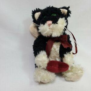 Boyds Bears Love Me Tender Ornament Plush Flying Cat Heart Black White 6