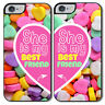 "Cover di coppia per iPhone 4, 4S, 5, 5S, 5C, 6, 6 plus ""She is my Best Friend"""