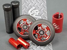 Red Pro Star Black Metal Core Scooter Wheels 2 Grips +  2 Pegs + Clamp + GKTape