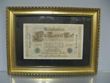 Ancien billet de banque sous cadre. 1000 Reichsbanknote 1910 Allemand.