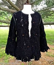 NWT Free People black open Heirloom Macramé Jacket Coat M $298