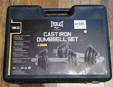 Everlast 18KG Cast Iron Adjustable Dumbbells Weight Set Gym - 24 HOUR DELIVERY