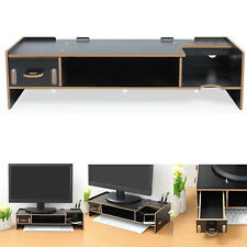Wooden Monitor Stand  Screen TV LCD Computer Riser Desktop Holder Bracket Black
