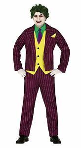 Mens Crazy Joker Movie Villain Fancy Dress Costume Halloween Outfit