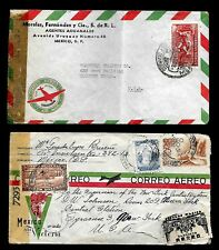 CF82 Mexico to U.S.A. Covers (2) Registered 1945 Correo Aereo