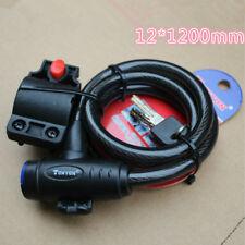 12*1200mm Cerraduras antirrobo para bicicleta de montaña bicicleta con bloqueo de cable de alambre 2 Negro clave