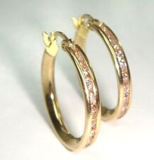 14 K Solid Yellow Gold  Women's  Hoop Earring With CZ Jewelry
