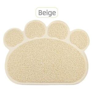 Beige PAW Feed Placement Pet Dog Puppy Cat Feeding Mat Pad PVC Dish Bowl Food