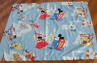 Vintage Disney Curtain Fabric Mickey Minnie Donald Pluto Pirates Knight Princess