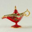 Chinese Exquisite Metal Jewelry Box Teapot Shape Inlaid Rhinestones Statue LP009