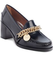 New Givenchy Black Leather Thick Gold Chain Logo Charm Loafer Pumps Sz 37 7 $995