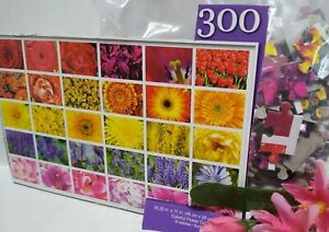 """Jigsaw Puzzle 18.25""""x11"""" Sealed 300 Piece Variety FLOWERS COLLAGE Colorful"""