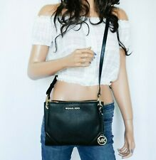 Michael Kors Nicole Triple Compartment Leather Crossbody Bag Black