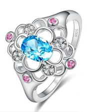 Sterling Silver 925 High Quality Oval Blue & Pink Zircon Ring Size 6 3/4 EU 53.5