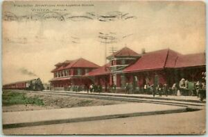 "1914 VINITA OK Postcard ""FRISCO STATION and Lunch Room"" Fred Harvey Hand-Colored"