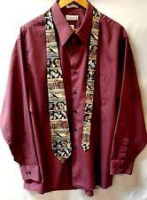 Men's Van Heusen Satin Stripe Mauve, Long Sleeve Dress Shirt, Size 18, 34-35
