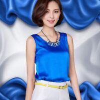 Ladies Satin Silk-like Vest Sleeveless T-shirt Camisole Blouse Tunic Top Shirts