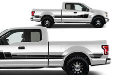 Vinyl Decal Rally Stripe 3 Wrap Kit for 15-17 Ford F-150 BLACK SuperCab 6.5 Bed