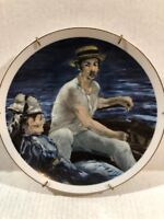 """""""Boating"""" by Eduoard Manet Southern Living Gallery Plate With Wall Hanger Attach"""