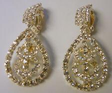 Vintage Clear Crystal Rhinestone Tear Drop Dangle Clip On Earrings