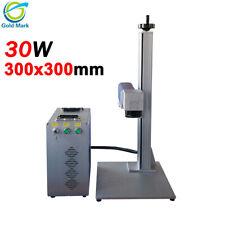 30W Fiber Laser Marking Machine 300x300mm metal engraving for Gold Silver Copper