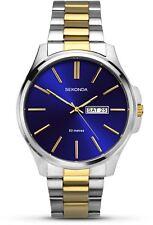 Sekonda Gent's Stainless Steel Dual Tone Bracelet Watch Blue Dial 1440