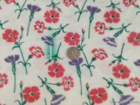 Vtg Feedsack Fabric Floral 37.5x41 Carnations Pink Purple Quilting Sew Blue Mark