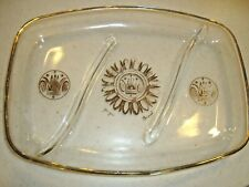 1960 Midcentury Georges Briard Glass Divided Platter Gold Regalia Medallion