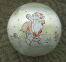 "1976 Betsey Clark Small Hallmark Christmas Ornament-Round Satin-Santa-1-3/4"""