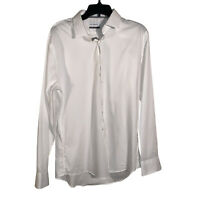Calibrate Mens White Dress Shirt Trim Fit Size 16.5 (34-35) Work Business Casual