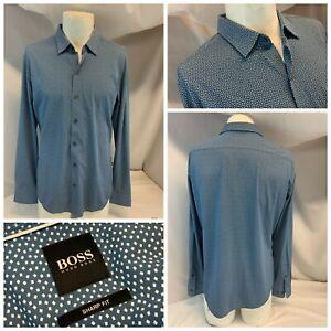 Hugo Boss Sharp Fit Shirt L Blue Check Nylon Stretch Long Sleeve NWOT YGI I1-27