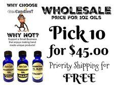WHOLESALE You Pick 10 - 1oz Glass bottles of skin safe fragrance oils- Free SHIP