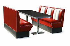 150cm Retro 50s Diner Furniture Kitchen Table Restaurant Bench Booth Seating Red