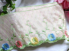 Embroidered Pale Pink Satin trim 4 1/2 inches wide selling by the yard