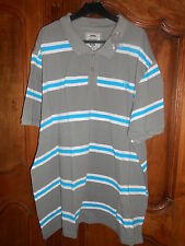 polo rayé manches courtes gris/turquoise taille 4XL - neuf