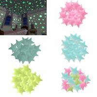 100X 3D-Sterne im Dunkeln leuchten Leuchtende fluoreszierende Wandsticker Decor