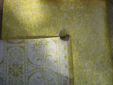 Vtg 10yds Scancelli Hand Printed Wallpapers MARBLE Look White on Gold Topaz LOT