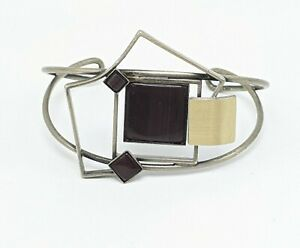 Christophe Poly Abstract Modernist Mixed Metal Cuff Bracelet