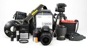 Nikon D3400 DSLR Camera Dual Lens Kit AF-P 18-55mm VR  AF-S 55-200mm 2,812 Shots