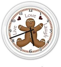 Gingerbread Live Love Laugh Wall Clock - Kitchen Bath Bed Room Restroom Laundry
