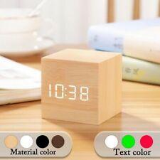 Square Digital Wooden LED Alarm Clock Wood Retro Glow Clock Desktop Table Decor