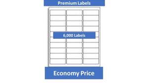 """6,000 Laser/Ink Jet Labels,1"""" x 2-5/8""""  30 up Address Compatible"""