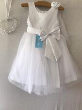 Petites Filles Demoiselle D'Honneur Fleur Fille Robe de mariage partie blanc 3-4 ans NEUF