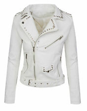 Ladies Faux Leather Jacket Between-seasons Biker look D-310 NEW